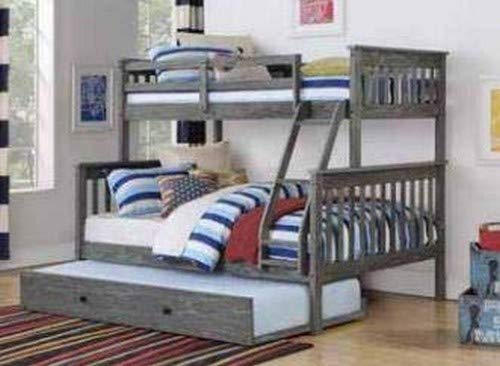 Donco Kids 122-3-TFBG_503-BG Mission Bunk Bed with Trundle Twin/Full Brushed Grey