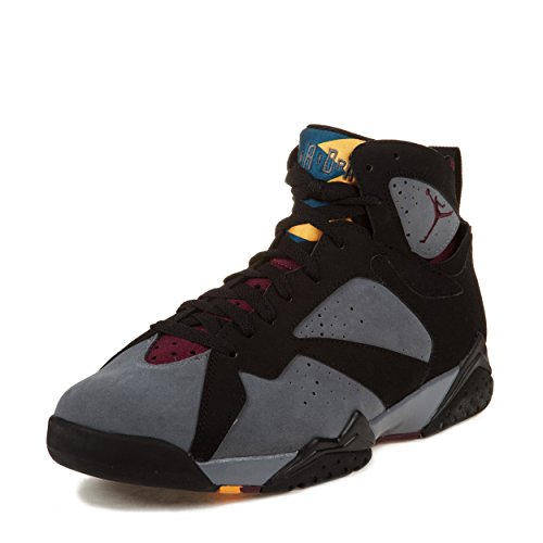 Nike Mens Air Jordan 7 Retro Black/Light Graphite-Bordeaux Leather Basketball Shoes Size 10.5
