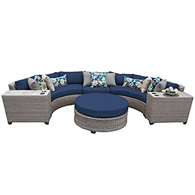 TK Classics FLORENCE-06c-NAVY 6 Piece Outdoor Wicker Patio Furniture Set, Navy - Thick cushions for a luxurious look and feel Cushion covers - washable and zippered for easy cleaning (air dry Only) Feet Levelers - Height adjusters for uneven surfaces that won't mar your patio or deck - patio-furniture, patio, conversation-sets - 41RGBAdWEnL. SS400  -