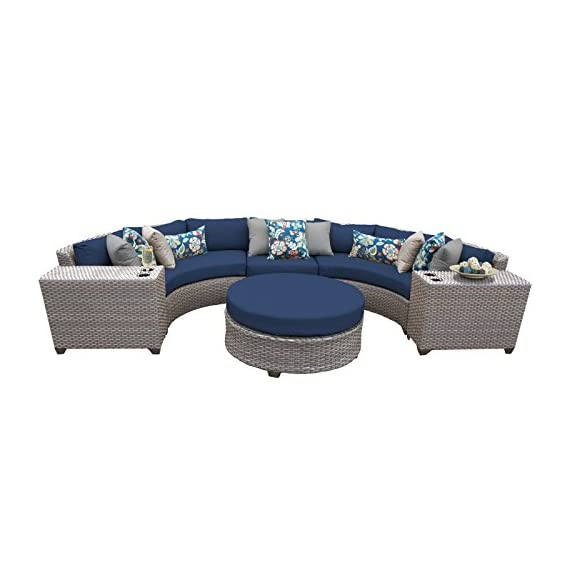 TK Classics FLORENCE-06c-NAVY 6 Piece Outdoor Wicker Patio Furniture Set, Navy - Thick cushions for a luxurious look and feel Cushion covers - washable and zippered for easy cleaning (air dry Only) Feet Levelers - Height adjusters for uneven surfaces that won't mar your patio or deck - patio-furniture, patio, conversation-sets - 41RGBAdWEnL. SS570  -
