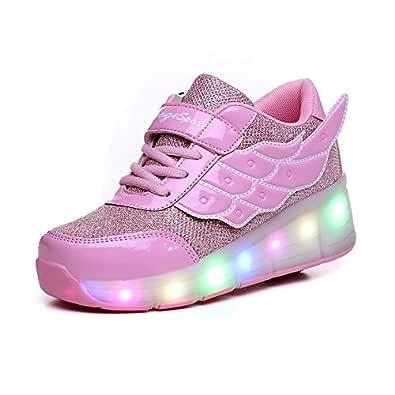 AIkuass Roller Shoes for Girls Boys Kids LED Blinking Skate Sneaker Shoes with Wheels Size: 1 Little Kid