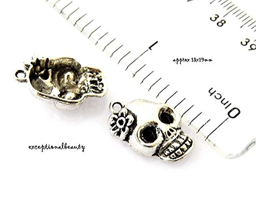 Pendant Jewelry Making 10 Candy Skull 13x19mm Dia De Los Muertos Day of The Dead Halloween Bead Charms -