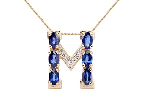 Blue Sapphire Necklace with Diamonds & 18K Gold Chain | Irresistible Sapphire Letter M Pendant Jewelry | Perfect Valentine's Day, Anniversary & Birthday Gift by Albert Hern - 18k Blue Sapphire Necklace