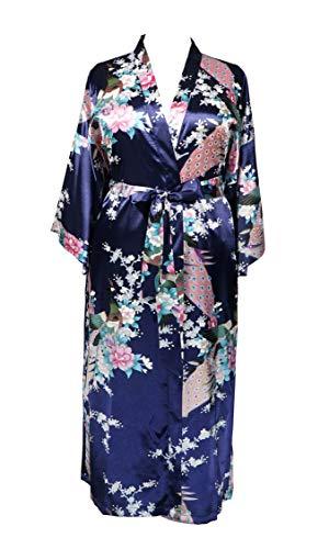 Applesauce 838 - Plus Size Peacock Japanese Women Kimono Sleep Robe, US Size 1 X 2X 3X (Navy Blue)