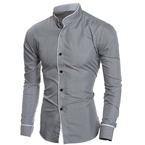 Price comparison product image HOT ! Ninasill Mens Autumn And Winter Casual Slim Long-sleeved Shirt Top Blouse (M, Gray)