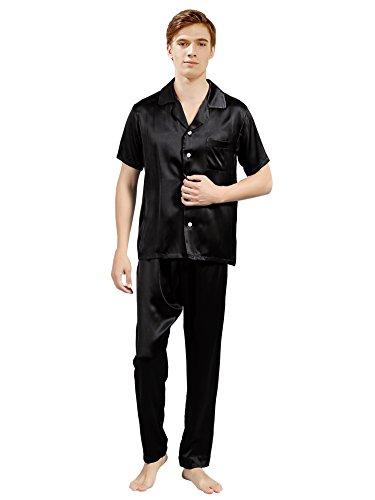 ElleSilk Men's Silk Pajama Set, Silk Sleepwear, Premium Quality Mulberry Silk, Black, L by ElleSilk