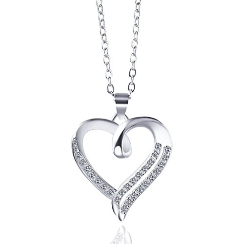 Trinity Space Cubic Zirconia High Polish Heart Pendant Necklace 18