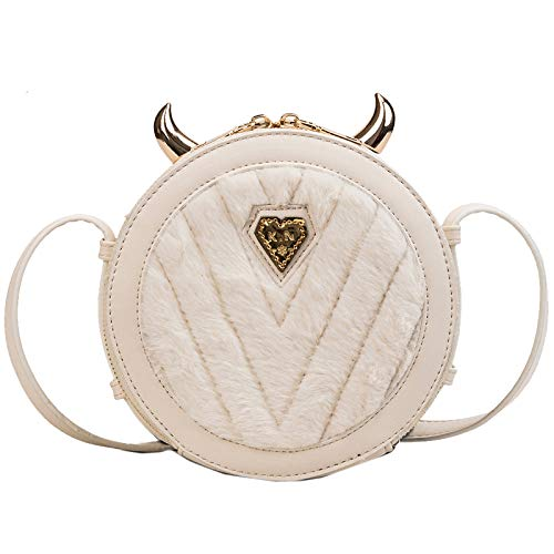 Personality Small Girl Bag New Round Devil Chain Wild Bianco Teddy Portafoglio Messenger H2eYWEbDI9