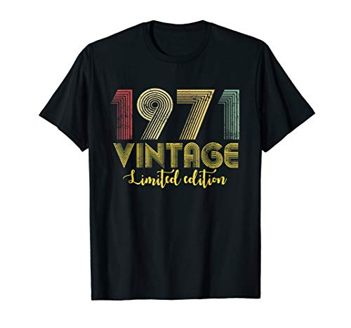 Vintage 1971 T-Shirt Born in 1971 Retro 48th Birthday Gifts