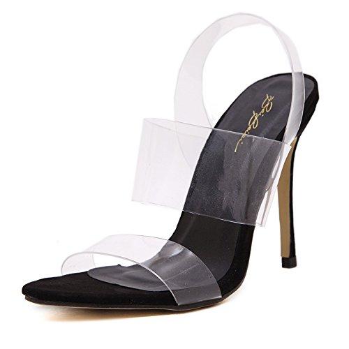RUGAI-UE Dicke Fersen-Sandalen Sandalen europäische und amerikanische einfache transparente raue und hochhackige Damen-Sandalen.