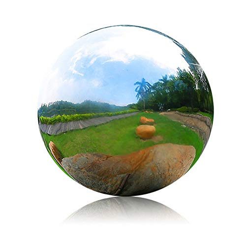 HomDSim 30 cm/12 inch Diameter Gazing Globe Mirror Ball,Silver Stainless Steel Polished Reflective Smooth Garden Sphere,Colorful and Shiny Addition to Any Garden or Home