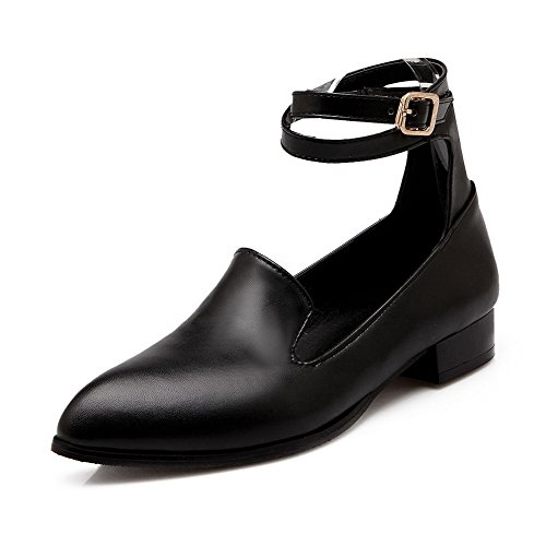 Pumps Pointed Soft Women's Heels Solid Buckle Toe Closed Low VogueZone009 Black Shoes Material wvp0Xqpx