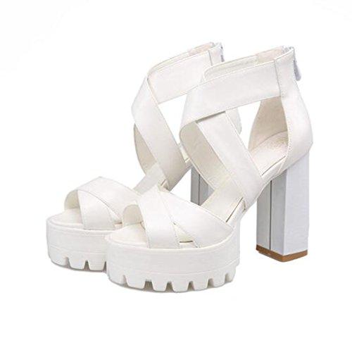 Sandales Talon Semelle PU Éclair Épaisse Bout De Femmes Printemps pour Chaussures Épais Fermeture Été Ouvert Blanc Type rzrwPq