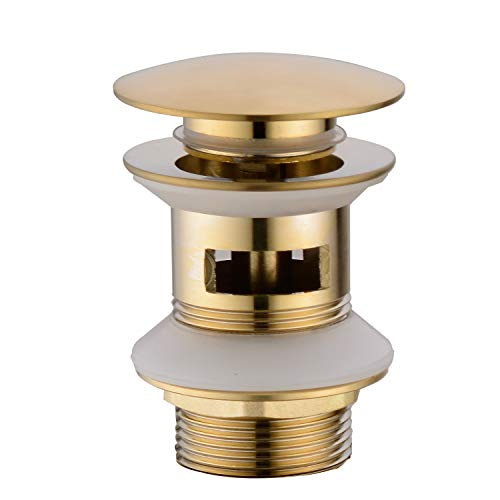 (TRUSTMI Brass Pop Up Sink Drain Stopper with overflow Bathroom Faucet Vessel Vanity Sink Drainer, Brushed)