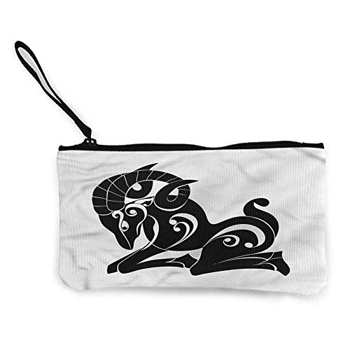 Tao Clear Case - Coin pouch Zodiac Aries,Monochrome Goat,Pencil Bag Pen Case W 8.5