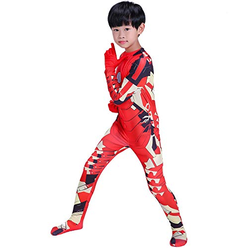 DSFGHE Children's Halloween Iron Man Clothing Tight Cosplay Costume Movie Props Makeup Party Dress -