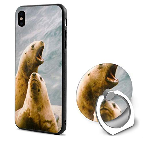 - Barton Apple iPhone Xs Case/iPhone X Case + Finger Ring Stand Holder 360 Degree Rotating Combo Set - Cute Seal Sea Lion Print