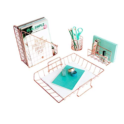 Blu Monaco Office Supplies Rose Gold Desk Accessories for...