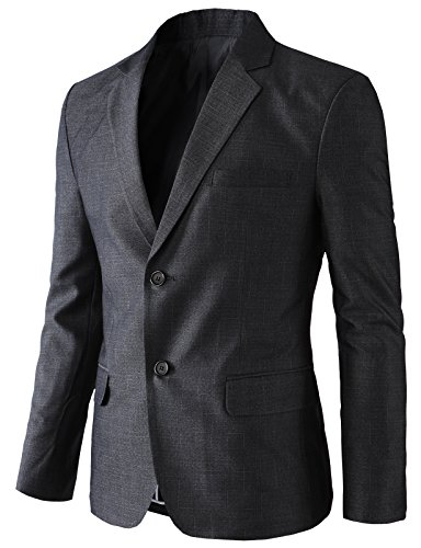 H2H Men's Casual Double-Breasted Jacket Slim Fit Blazer Charcoal US XL/Asia 3XK (KMOBL0125) by H2H (Image #4)