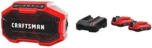 CRAFTSMAN V20 Bluetooth Speaker with Battery Charger Starter Kit, 2.0 Ah CMCR001B CMCB202-2CK