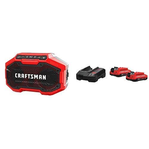CRAFTSMAN V20 Battery & Charger Starter Kit, 2.0 Ah with Bluetooth Speaker (CMCB202-2CK & CMCR001B)