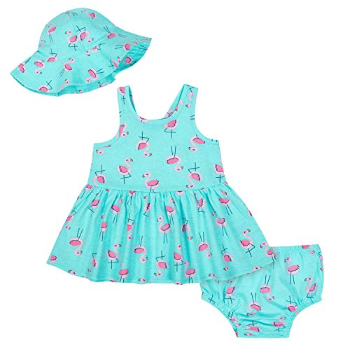 Gerber Baby Girls 3-Piece Dress Set, Pink Flamingo, 3-6M