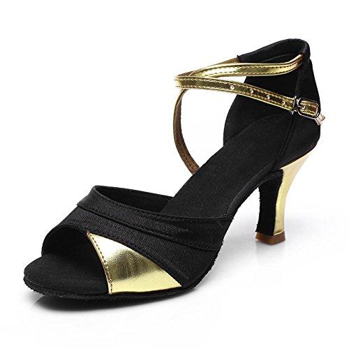 HROYL Zapatos de baile/Zapatos latinos de satín mujeres ES7-F21 7CM Oro