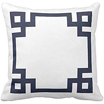 TORASS Throw Pillow Cover Cute Preppy Navy Blue and White Greek Key Girly Decorative Pillow Case Home Decor Square 18 x 18 Inch Pillowcase