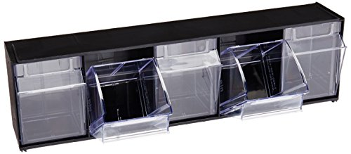 Deflecto 20504OP Five-bin horizontal tilt bin storage system, 23-5/8w x 5-1/4d x 6-1/2h, black ()