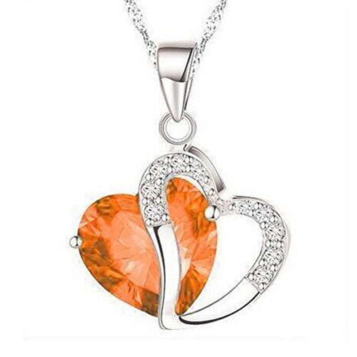 Double Heart Shape Two Tone Diamond Statement Pendant Necklace Chian Made with Swarovski Crystal for - Diamond Long Shape Face