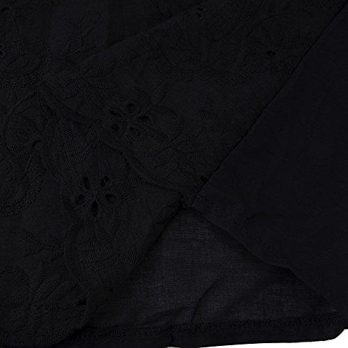 Femme Vêtements Chic Tee Ete Pas Shirt Top Grande La A Noir Lâche Jaysis Ajourée Mode shirt Tops Tunique Casual Haut Taille Solide Blouse Ménage T Sexy Cotton Manche Chemise Courtes Cher C8qwztx