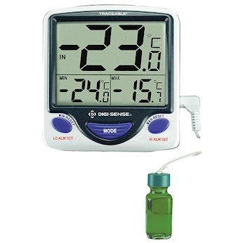 Digi-Sense Calibrated Jumbo Fridge/Freezer Digital Thermometer, Bottle Probe