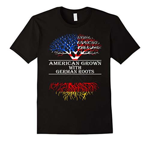 American Grown With German Roots T-Shirt - Male 2XL - Black