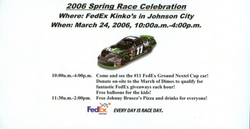 March 2006 Denny Hamlin Johnson City, Tn Kinko's handout