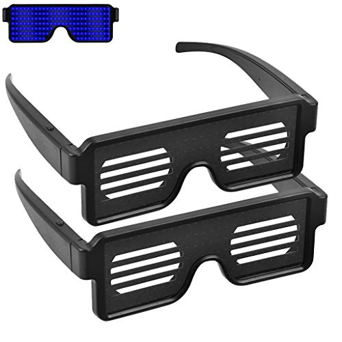 Weite 2-Pack Creative LED Light Up Glasses with 8 Dynamic Patterns Glowing Luminous Glasses, Bulk Light Up Shutter Shades Fun for All Ages and Glowing Events (Blue)