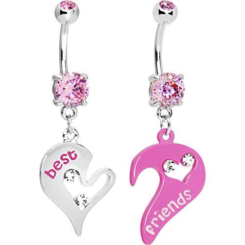 Body Candy Women's Pink Open Heart Best Friends Belly Ring Set