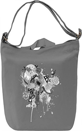 Black and White Flowers Borsa Giornaliera Canvas Canvas Day Bag| 100% Premium Cotton Canvas| DTG Printing|