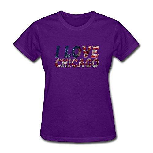 BOTORO Women's I Love Chicago T-shirt Purple X-Large