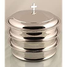 Mirror Finsih- 3 stainless steel communion trays with 1 lid