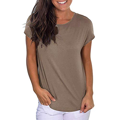 HebeTop ✰ Women's Sexy Backless Short Sleeve Top Back Casual Shirt Tee Brown