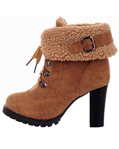 Botines De Invierno Mujer Alto Calentar Minetom Cordones Tacón Cortas Martin Botas Boots Amarillo Zapatos xgw5z5Fqt