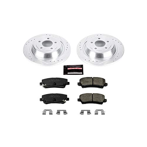 Power Stop K6813 Rear Brake Kit with Drilled/Slotted Brake Rotors and Z23 Evolution Ceramic Brake Pads