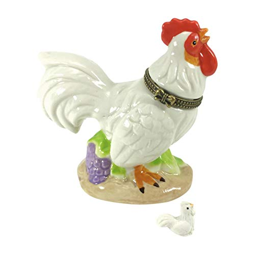 Country Rooster Trinket Box with Chick, Porcelain, 3.5 Inches Tall