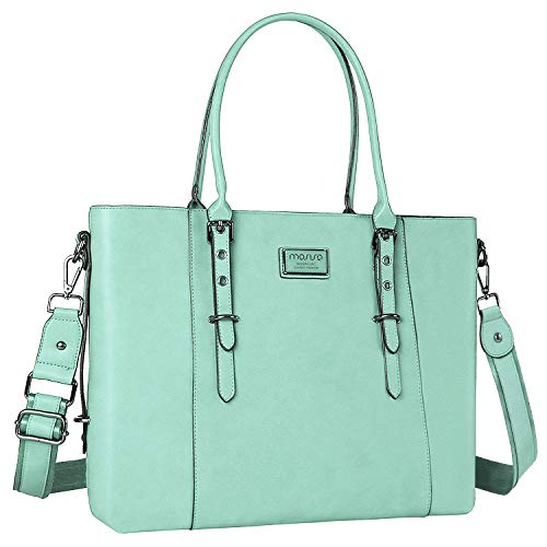 MOSISO Laptop Tote Bag for Women (Up to 15.6 Inch), Water Resistant PU Leather Large Capacity with Padded Compartment Business Work Shoulder Briefcase Handbag Compatible MacBook & Notebook, Mint Green