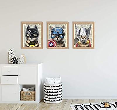 Super Hero Cat 3 Piece Set - Batman, Captain America & Thor Cat Art Prints - Kids Bedroom Decor on Vintage Dictionary Book Pages - Fun Children's Room Decor - 8x10 inches each, Unframed
