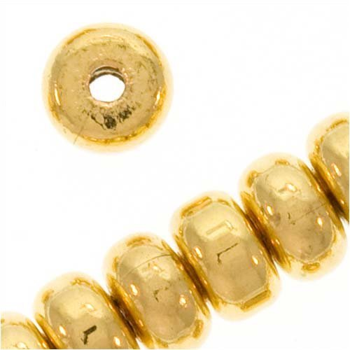 Gold Plated Thick Heishe Spacers Beads 4.5mm x 2.5mm -