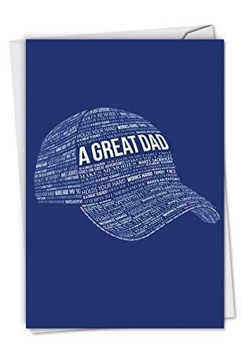 Baseball Humor Cap - A Great Dad - Stylish Father's Day Card with Envelope (4.63 x 6.75 Inch) - Blue Baseball Cap Hat, Fathers Appreciation Card - Creative Gratitude, Congrats Greeting Card for Dads, Husbands C6780FDG