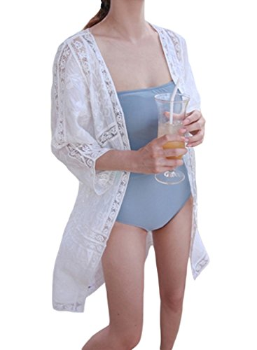 Chase Secret Womens Open Front Lace Bikini Cover Up Summer Beach Wear One Size White (Open Front Swimsuit Cover Up)