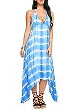 Zeagoo Women's Summer Beach Backless Dress Bohemian Halter Tie Dye High Low Dress