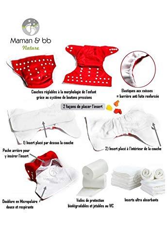 Kit rose pastel Maman et bb Nature Pack de d/émarrage Couches lavables insert et voiles de protection